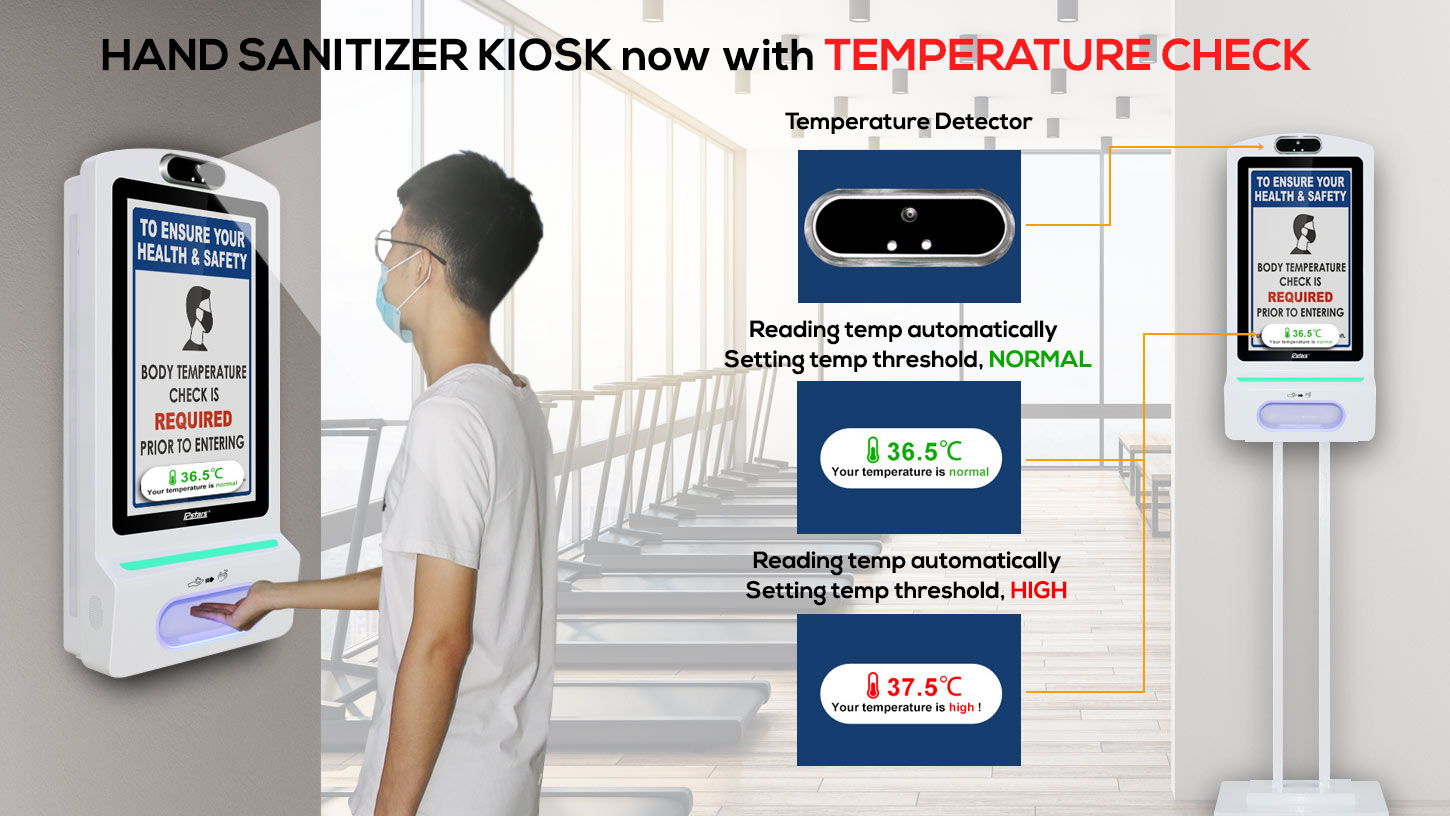 hand sanitizer kiosk with temperature check